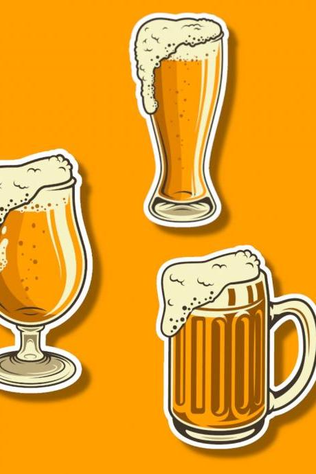 Beer Sticker | Beer Mug Sticker | Alcohol Sticker | Beer Goblet Sticker | Beer Glass Sticker | Funny Sticker | Small Gift | Bachelor Sticker