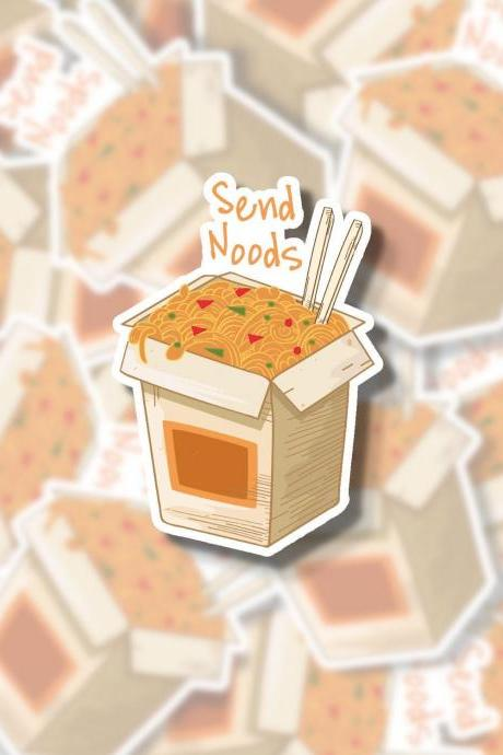 Send Noods Sticker | Noodles Sticker | Food Sticker | Asian Sticker | Water Bottle Sticker | Tumbler Sticker | Hydro Flask Sticker