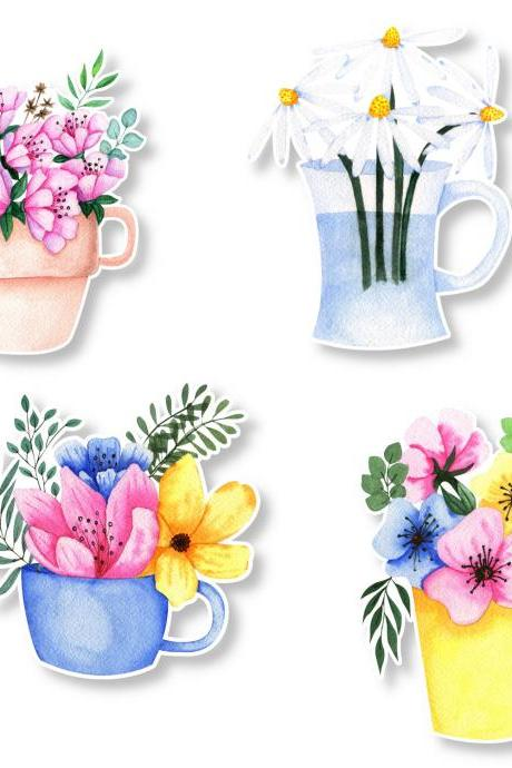 Flowers Sticker Pack | 4 Flower Stickers | Flowers in Mug Sticker | Mug Sticker | Tumbler Sticker | Small Gift | Water Bottle Sticker