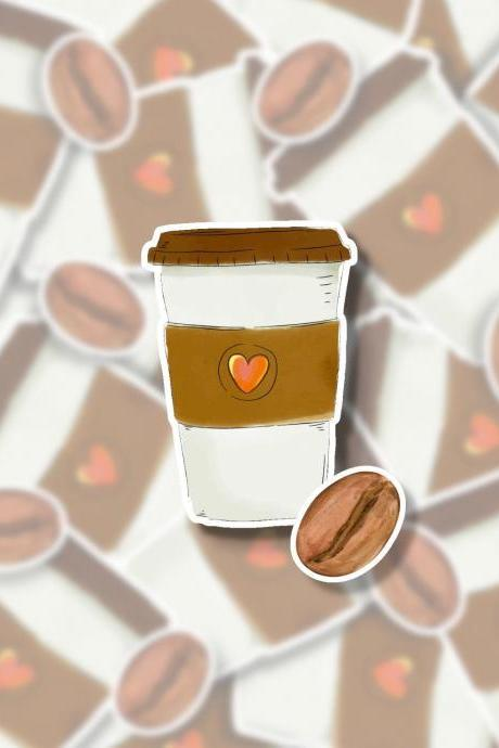 Coffee Sticker Pack | 2 Coffee Stickers | Coffee Cup Sticker | Starbucks Sticker | Coffee Bean Sticker | Tumbler Sticker | Small Gift