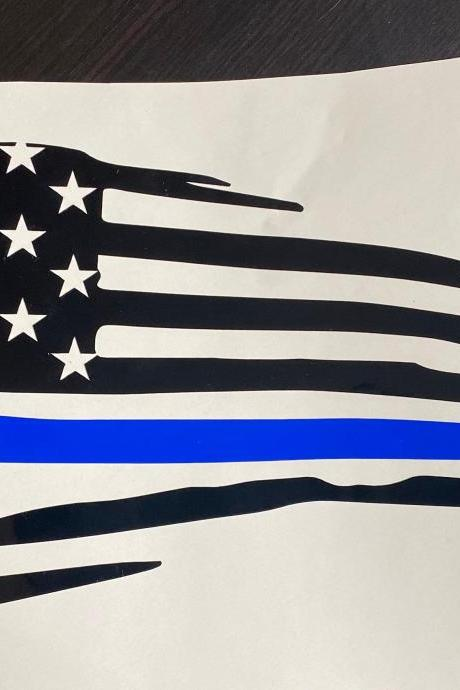Back the Blue Vinyl Decal | Thin Blue Line Vinyl Decal | Cop Vinyl Decal | Police Vinyl Decal | Law Enforcement Decal | Police Support