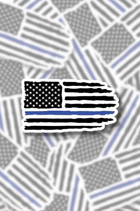 Back the Blue Sticker | Police Sticker | Cop Sticker | Thin Blue Line Sticker | Water Bottle Sticker | Laptop Sticker | Planner Sticker