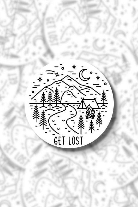 Get Lost Sticker | Outdoor Sticker | Hiking Sticker | Laptop Sticker | Hydro Flask Sticker | Yeti Sticker | Water Bottle Sticker