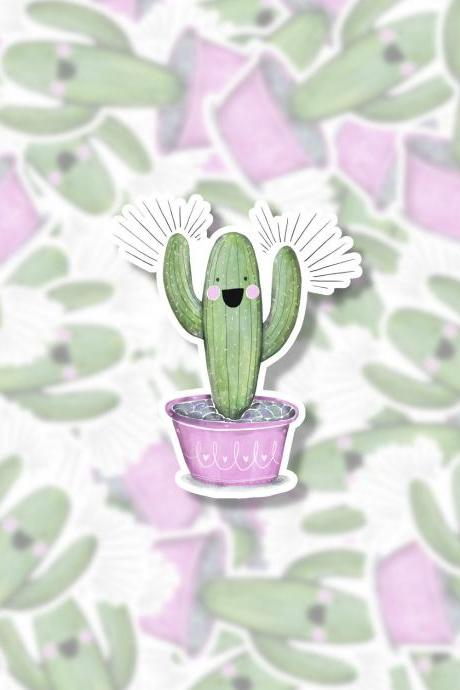 Cactus Sticker | Happy Sticker | Laptop Sticker | HydroFlask Sticker | Yeti Sticker | Water Bottle Sticker | Planner Sticker | Quote Sticker
