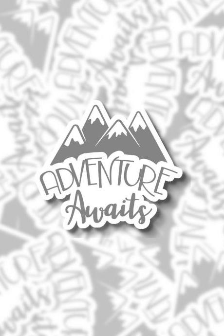 Adventure Awaits Sticker | Hiking Sticker | Outdoor Sticker | Laptop Sticker | Water Bottle sticker | Hydro Flask Sticker | Planner Sticker
