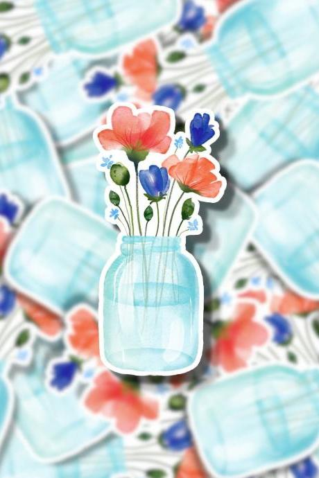 Mason Jar Bouquet Sticker Decal | Mason Jar Sticker Decal | Flower Sticker Decal | Water Bottle Sticker Decal | Laptop Sticker Decal