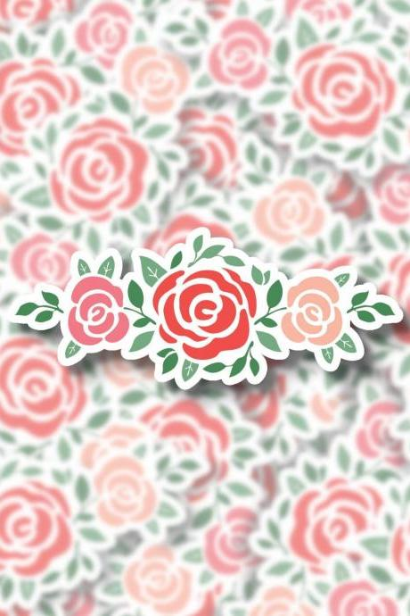 Rose Sticker Decal | Roses Sticker Decal | Cluster Roses Sticker Decal | Laptop Sticker Decal | Water Bottle Sticker Decal | Planner Sticker