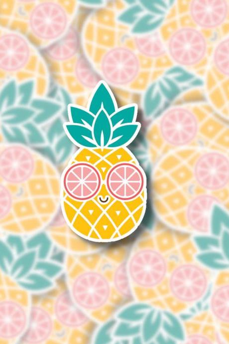 Pineapple Sticker | Pineapple Decal | Water Bottle Sticker | Laptop Sticker | Fruit Sticker | Cute Fun Sticker | Summer Sticker | Lemon