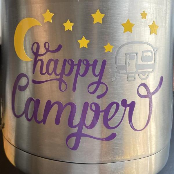 Happy Camper Sticker Decal, Water Bottle Sticker Decal, Camping Sticker Decal, Summer Sticker Decal, RV Sticker Decal, Camp Sticker Decal